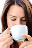 Smelling the coffee Stock Images