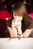 Smelling coffee flavour Royalty Free Stock Image