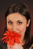 Smelling flower portrait Royalty Free Stock Photo