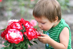 Smelling Flowers Stock Image