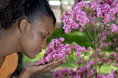 Smelling Flowers Royalty Free Stock Images