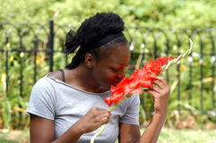 Smelling the flowers. Young african american woman smells flowers, while sitting in the park royalty free stock photos