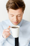 Smelling a fresh coffee. Royalty Free Stock Photos