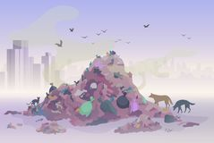 Smelling landfill waste landscape with city skyscrapers on the background. Pollution Environment concept vector stock illustration