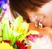 Smelling pleasure Stock Image