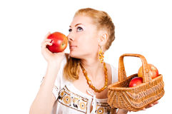 Smelling red apple Stock Photography
