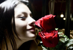 Smelling the rose Royalty Free Stock Photo