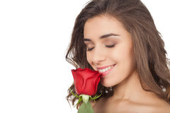 Smelling a rose. Royalty Free Stock Photo