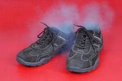 Smelling shoes Stock Images