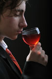 Smelling wine Stock Images