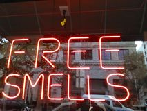 Smells good. Illuminated free smells sign Royalty Free Stock Photography