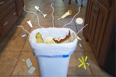 Smells in kitchen garbage can royalty free stock images