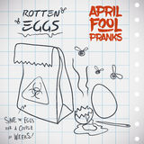 Smelly Bag with Rotten Eggs for April Fools' Prank, Vector Illustration. Smelly bag with stinky eggs ready for a stinky prank in April Fools' Day Royalty Free Stock Images
