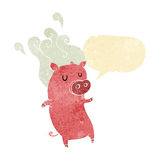 Smelly cartoon pig with speech bubble Royalty Free Stock Photography