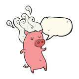 Smelly cartoon pig with speech bubble Stock Image