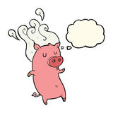 Smelly cartoon pig with thought bubble Stock Images