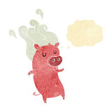 Smelly cartoon pig with thought bubble Stock Photography