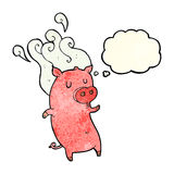 Smelly cartoon pig with thought bubble Stock Photos