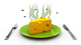 Smelly Cheese with flies, 3d illustration Stock Photography