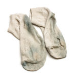 Smelly dirty socks isolated on the white background Stock Photos
