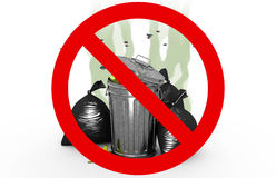 Smelly garbage bin and bags in Prohibited sign, 3d illustration Stock Photos