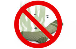 Smelly sock in Prohibited sign, 3d illustration Royalty Free Stock Photo