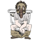 Smelly Toilet. An image of a man sitting on a smelly toilet wearing gas mask Royalty Free Stock Photography