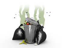 Smelly Trash Can, 3d illustration Stock Photos