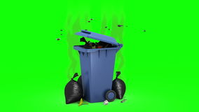 Smelly Trash Can and Garbage bags. 3D animation. Green screen, loopable. Computer-generated imagery video clip in 4K resolution stock footage