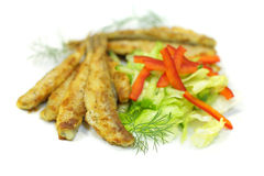 Smelt. On white background - North German, Swedish and Russian cuisine (shallow depth of field Royalty Free Stock Photo