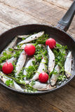 Smelt fishes in old pan Royalty Free Stock Image