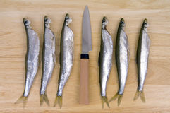 Smelt and knife Stock Image