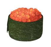 Smelt roe masago sushi with algae and caviar on a white background Stock Photography