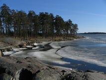 Smeltend ijs bij de kust stock foto