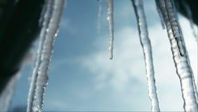 Smeltende ijskegels op zon Langzame Motie stock videobeelden