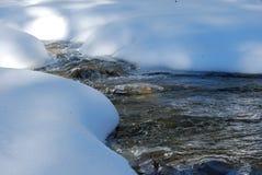 Smeltende sneeuw op het water Royalty-vrije Stock Afbeeldingen