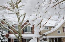 Smeltende sneeuw in voorstad van Seattle royalty-vrije stock foto's