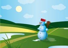 Smeltende Sneeuwman royalty-vrije illustratie