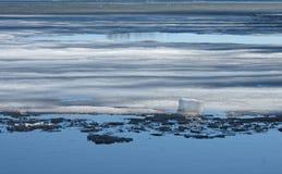 Smelting do gelo em um lago Imagens de Stock Royalty Free
