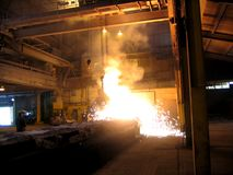 Smelting industry. Factory hall. Retapping of molten metal Stock Images