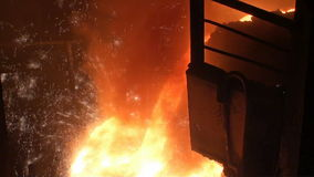 Smelting of liquid metal from blast furnace stock video footage