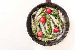 Smelts fish in the pan Royalty Free Stock Images