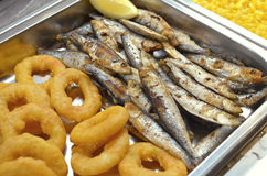 Smelts and fried squid Royalty Free Stock Photography