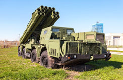 Smerch 300mm多个发射火箭队系统(MLRS) 库存照片