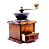 Smerigliatrice di caffè di legno su priorità bassa bianca Fotografia Stock Libera da Diritti