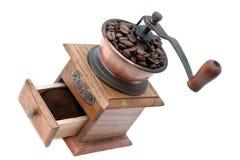 Smerigliatrice di caffè e chicchi di caffè Immagine Stock Libera da Diritti