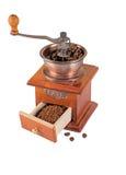 Smerigliatrice di caffè sopra bianco Fotografia Stock Libera da Diritti