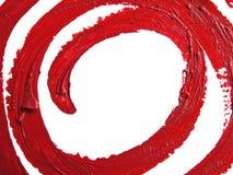 Smetad spiral RÖD läppstift på vit bakgrund Arkivfoton