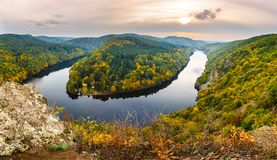 Smetanova lookout. Very beatiful lookout on the Vltava river during sunset from place called ,,Smetanova vyhlidka royalty free stock images