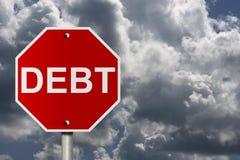 Smetta di entrare nel debito Immagini Stock Libere da Diritti